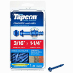 Itw Brands 24200 Tapcon 3/16 x 1-1/4-Inch Hex-Washer-Head Concrete Anchors, 25-Pack