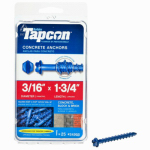 Itw Brands 24205 Tapcon 3/16 x 1-3/4-Inch Hex-Washer-Head Concrete Anchors, 25-Pack