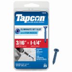 Itw Brands 24250 Tapcon 3/16 x 1-1/4-Inch Phillips Flat-Head Concrete Anchors, 25-Pack
