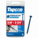 Itw Brands 24265 Tapcon 3/16 x 2-3/4-Inch Phillips Flat-Head Concrete Anchors, 25-Pack