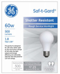 G E Lighting 72549 60-Watt Rough Service Light Bulb