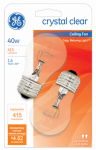 G E Lighting 44409 Clear Ceiling Fan Light Bulbs, 2-Pack, 40-Watt