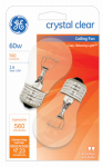 G E Lighting 44407 Ceiling Fan Light Bulbs, Clear, 2-Pack, 60-Watt