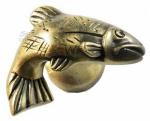 Sierra Lifestyles SL-681383 Fish Cabinet Knob, Right Facing,  Antique Brass