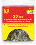 Hillman Fasteners 55511 Conventional Picture Hook Value Pack, Zinc Plated,20-Lb., 60-Pc.