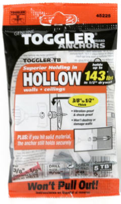 """Polypropylene Made in US 3//8/"""" to TOGGLER Toggle TB Residential Drywall Anchor"""