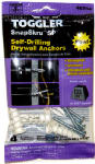 Mechanical Plastics 50100 SnapSkru Self-Drilling Drywall Anchors, With Screw, 3/8-5/8-In., 4-Pk.