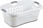 Sterilite 12108006 Laundry Basket, Hip-Hold, White & Gray, 1.25-Bushel
