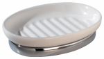 Interdesign 68861 York Oval Soap Dish, White/Chrome