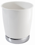 Interdesign 74721 York Bathroom Waste Basket, White/Chrome