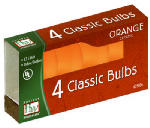 Noma/Inliten-Import 1074O-88 Christmas Lights Replacement Bulb, C7, Orange Ceramic, 4-Pk.