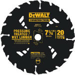 Dewalt Accessories DW3174 Pressure-Treated Lumber Circular Saw Blade, 7.25-In., 20-TPI