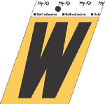 Hy-Ko Prod GG-25/W 3-1/2-Inch Black/ Gold Aluminum Adhesive Letter W