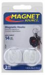 Master Magnetics 07291 2-Piece White Magnetic Hooks - 14-Lb. Pull