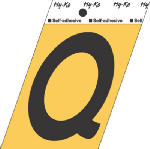 Hy-Ko Prod GG-25/Q 3-1/2-Inch Black/ Gold Aluminum Adhesive Letter Q