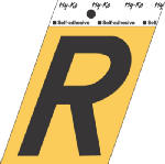 Hy-Ko Prod GG-25/R 3-1/2-Inch Black/ Gold Aluminum Adhesive Letter R