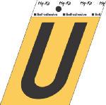 Hy-Ko Prod GG-25/U 3-1/2-Inch Black/ Gold Aluminum Adhesive Letter U