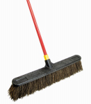 Quickie Mfg 536 Bulldozer Push Broom, Soft Sweep, Polypropylene Fibers, Red Handle,  24-In.