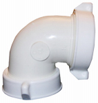 Larsen Supply 03-4263 White Plastic Tubular,1-1/2-Inch Slip Joint One End X Captive Nut ,90 Degree Elbow,With Nuts And Washers,Carded