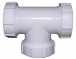 Larsen Supply 03-4277 White Plastic Tubular,1-1/2-Inch Slip Joint Tee,With Nuts And Washers,Carded