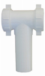 Larsen Supply 03-4291 White Plastic Tubular,1-1/2-Inch Slip Joint,Center Outlet Baffle Tee,With Tailpiece,Nuts And Washers,Carded
