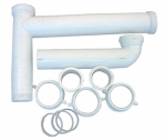 Larsen Supply 03-4215 White Plastic Tubular,1-1/2-Inch X 16-Inch Telescopic/Adjustable,Center Outlet,Kitchen Sink Drain Kit,Carded