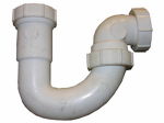 Larsen Supply 03-4229 Lavatory/Kitchen Wall Drain Trap J Bend, White PVC, 1.25 - 1.5-In. Tube Outlet