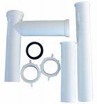 Larsen Supply 03-4107 White Plastic Tubular,1-1/2-Inch X 16-Inch Telescopic/Adjustable,End Outlet,Disposal Drain Installation Kit,Carded