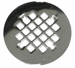 Larsen Supply 03-1355 Shower Drain Grate, 4-1/4 Inch Snap In Style, Chrome Plated