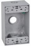 Hubbell Electrical Products FSB50-3X 1 Gang Outlet Box, Rectangular, Gray, Weatherproof, Three 0.5-In. Holes
