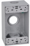 Hubbell Electrical Products FSB75-3X 1 Gang Outlet Box, Rectangular, Gray, Weatherproof, Three 0.75-In. Holes