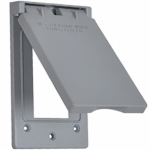 Hubbell Electrical Products 1C-GVX GFCI Single-Gang Flip Cover, Vertical, Weatherproof, Gray