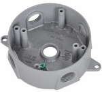 Hubbell Electrical Products BRD-4X Round Outlet Box, Silver Gray, Weatherproof, Five 0.5-In. Holes
