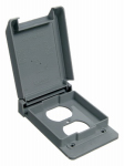 Thomas & Betts E98GDRN-CAR Electrical PVC Duplex Receptacle Cover- Single Gang, Vertical, Weatherproof when closed