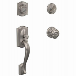 Schlage Lock F60VCAMXGEO619 Satin Nickel Georgian Handleset