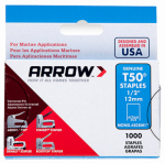 Arrow Fastener 508M1 Monel Staples, T50, 1/2-In., 1,000-Pk.