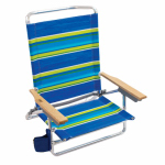 Rio Brands SC590-TS Sand Chair, 5-Position, Wood Arms, Assorted Colors