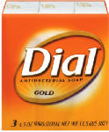 Dial 12402 Antibacterial Soap Bars, Gold, 4-oz. 3-Pk.