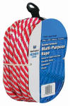 Wellington Cordage 44166 3/8-Inch x 50-Ft. Red & White Derby Rope