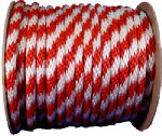 Wellington Cordage 46411 Multi-Filament Polypropylene Derby Rope, Red & White, 0.625-In. x 200-Ft.