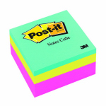 3M 2027-RCR 400-Sheet Neon Post-It Memo Cube