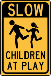 "Hy-Ko Prod HW-47 Traffic Sign, ""Slow Children"", Red & White Aluminum, 12 x 18-In."
