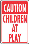 "Hy-Ko Prod HW-7 Traffic Sign, ""Caution Children At Play"", Red & White Aluminum, 12 x 18-In."