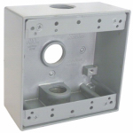 Hubbell Electrical Products TGB75-3 2-Gang Outlet Box, Weatherproof, Gray