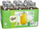 Jarden Home Brands 68100 Wide-Mouth Canning Jars With 2-Pc.Closures, 1/2-Gal., 6-Pk.
