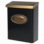 Solar Group DVKGB000 Designer Series Wall Mailbox With Lock, Vertical, Black Galvanized Steel With Brass Lid, XL, 12.5 x 9.5 x 4-In.