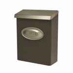 Solar Group DVKPBZ00 Designer Series Wall Mailbox With Lock, Vertical, Bronze Galvanized Steel With Nickel Lid, XL, 12.5 x 9.5 x 4-In.