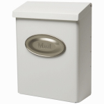 Solar Group DVKW0000 Designer Series Wall Mailbox With Lock, Vertical, White Galvanized Steel, XL, 12.5 x 9.5 x 4-In.