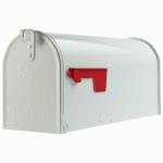 Solar Group E1100W00 Elite Post Mailbox, White Galvanized, 8.75 x 6.75 x 19-In.