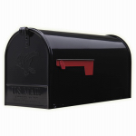 Solar Group E1600B00 Elite Post Mailbox, Black Galvanized, Large, 10.87 x 8.5 x 20.25-In.